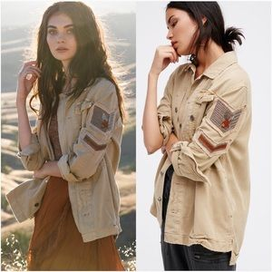 Free People military embellished distressed jacket